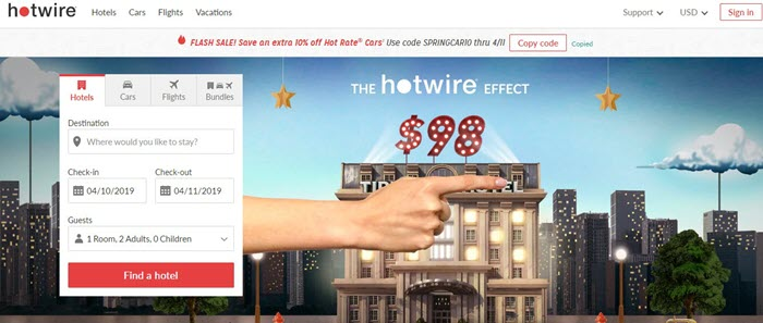 Hotwire webpage
