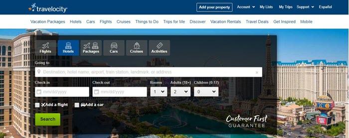 Travelocity webpage